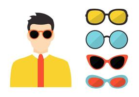 Ensemble vectoriel de lunettes de soleil des années 80