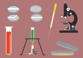 Ilustração vetorial de diferentes objetos de laboratório
