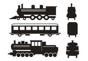Tren Silueta Vector Set