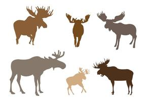 Set of Moose Silhouette in Vector Format