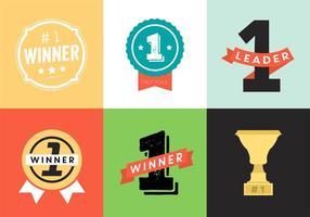 Ícones de vetor de troféus e prêmios, conjunto de crachás