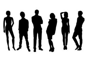 Hombres y mujeres silueta conjunto de vectores