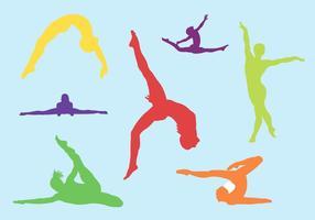 Silhouet Set Vrouwelijke Gymnastieken In Vector Formaat
