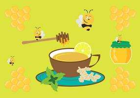 Ilustración vectorial con taza de té de jengibre y otros ingredientes