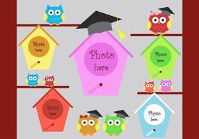 Kleurrijke afstuderenachtergrond met plaats voor foto's in vectorformaat