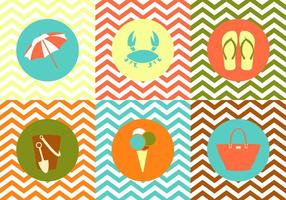 Collection of Summer Objects on Zig Zag Multicolor Background