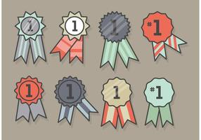 First Place Ribbon Icon Set vector