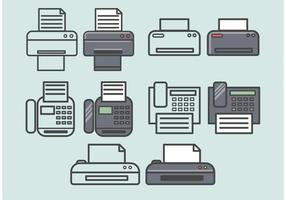 Ícones de fax vetorial configurados
