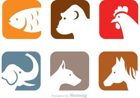 Animals Head Icons vector