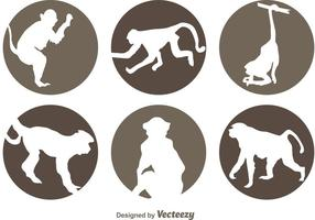 Circle Monkey Icons vector