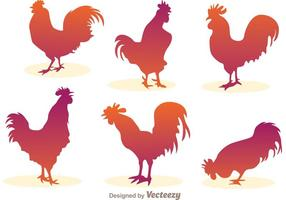 Gradation Rooster Silhouette Vectors