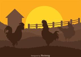 Roosters On Field vector