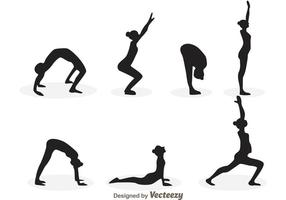 Vectores de la silueta de la muchacha del yoga