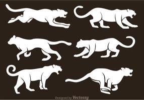 Vectores blancos de la silueta del tigre
