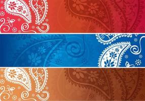 Paisley Design Horisontal Banner Vektorer