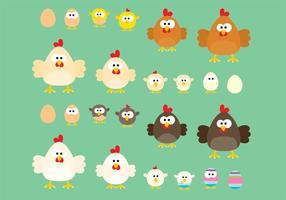 Vectores de dibujos animados de pollo