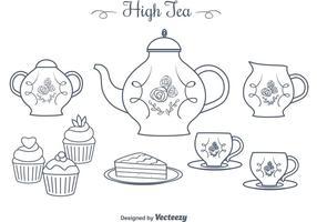 Mano libre dibujó los vectores altos del té