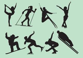 Frau und Mann Winterspiele Silhouette Vektoren