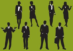 Woman And Man Business Silhouettes vector