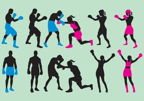 Woman And Man Boxing Silhouettes vector