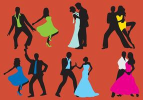 Woman And Man Dancer Silhouettes vector