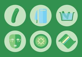 Cucumber Facial Vector Icon Set