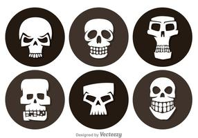 Icônes du cercle de crâne vecteur