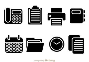 Vector Black Office Pictogrammen