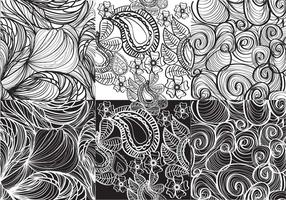 Set White And Black Paisley Vectors