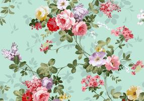 Schöne Vintage rosa und rote Rosen Textile Vektor Hintergrund frei