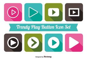 Trendy play button icon set