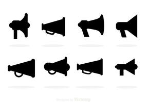 Icone nere di vettore del megafono