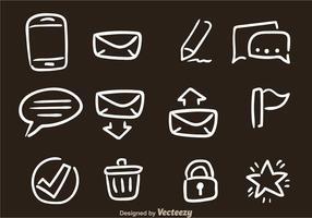 Dibujado a mano iconos de vectores de SMS