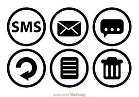 SMS Black Circle Icons vector
