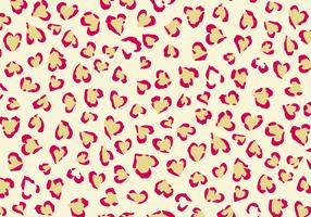 Impresión del leopardo con el fondo del vector de los corazones