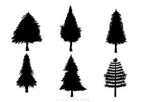 Black Christmas Tree Silhouettes vector