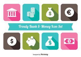 Dinheiro na moda e conjunto de ícones do banco