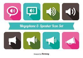 Trendig Megafon och Speaker Iocn Set