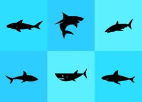 Vetores da silhueta do tubarão