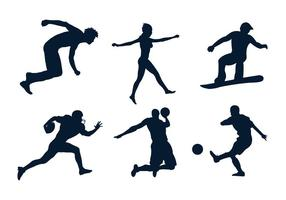 Conjunto de silhuetas de vários esportistas no vetor