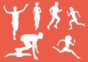 Vector Silueta de corredores