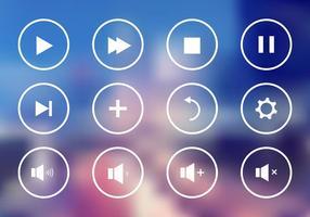 Conjunto de botões de controle do jogador no vetor