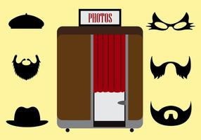 Vector Illustration of a Photobooth and Other Accessories