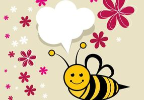 Cute Bee Vector with Flowers