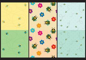 Cute Bee Patterns vector
