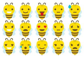Cute Bee Emoticon Vectores