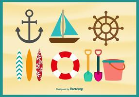 Beach Time Flat Icons