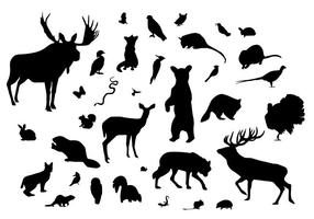 Silhouettes des animaux forestiers