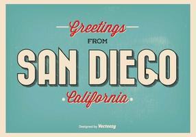 Retro Style San Diego Greeting Illustration