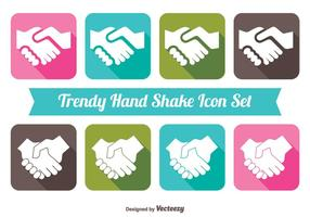 Trendy Long Shadow Style Handshake Icon Set
